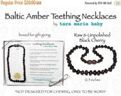 SALE Raw & Unpolished BLACK Black Cherry Natural Baltic Amber Teething Necklace. 12.5in Safety-knotted with screw clasp. Gift Boxed