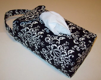 NEW!  Automobile Hanging Tissue Box Cover / Tissue Box Cozy / Automobile Accessory For Your Car / Black And White Damask