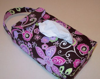 NEW!  Automobile Hanging Tissue Box Cover*/ Tissue Box Cozy / Automobile Accessory For Your Car / Boho Blossom Orchid