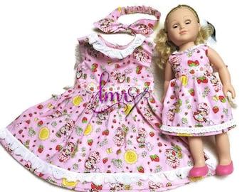 Child Strawberry Shortcake Dress Size 1,2,3 4,5 with Matching Doll Dress and Headband