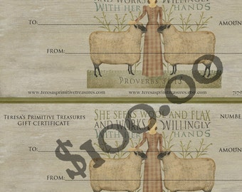 Gift Certificate Teresas Primitive Treasures One Hundred Dollars
