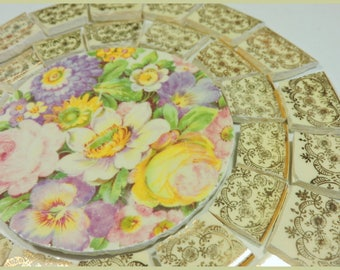 China Mosaic Tiles - SHaBBY CHIC OLD FaDeD RoSeS - Mosaic Tile ARRaNGeMeNT