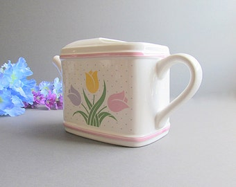 Vintage Watering Can Planter, Pitcher Flower Vase, Tulip Planter, Glass Watering Can