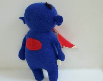 "handmade ""Super Critter"" Monster doll super hero stocking stuffer upcycled cashmere sweater soft plush eco baby gift bubynoa critters"