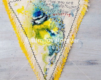 BLUE TIT Hanging Decoration. Original Painting. Pennant Flag Bunting. Blue Tit. Blue Yellow Bird. Humour. Original Artwork. Fun Keepsake.