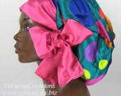 Sweet Sleep Satin Sleep Cap-Bonnet-Polka Dots-Sapphire Blue-Pink-Multi Colored-Natural hair Accessories