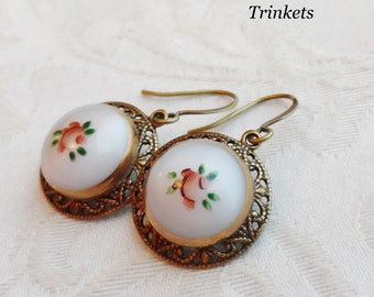 Rose, Earrings made with Vintage Handpainted Glass Buttons