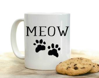 Meow Coffee Mug | Cat Coffee Mug | Coffee Mug Gift | Sublimation Mug | 15 oz Coffee Mug | 11oz Coffee Mug | Cat Rescue Mug