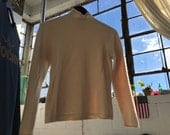 Vintage Oatmeal Turtleneck Cashmere Sweater SZ Small