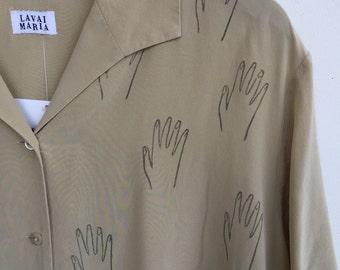 Lavai Maria Hand Printed Hand Pattern Short Sleeve Silk Blouse Beige SZ L