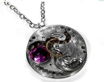 Steampunk Jewelry Necklace Vintage Etched Silver Pocket Watch Pink Crystal Wedding Womens Mothers Mom Gift - Steampunk Jewelry by edmdesigns