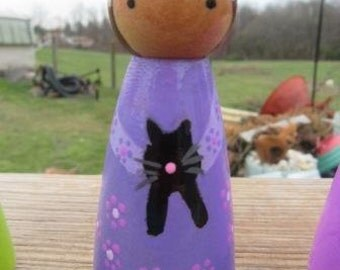 Handpainted Peg People peg girl in Purple with black cat and blk hair #18
