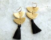 Chandelier Tassel Earrings, Black Tassel and Brass Crescent
