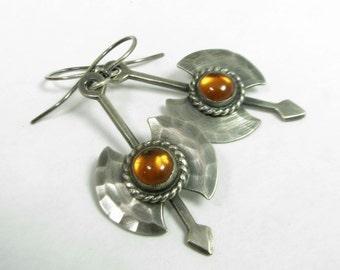 Amber Earrings, Labrys Earrings, Argentium Sterling Silver Earrings, Symbolic Double Axe Earrings, Artisan Earrings, Metalsmith Earrings