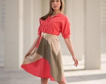 ON SALE Vintage Salmon Color Block Shirt Waist Dress (Size Medium/Large)
