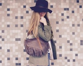 NEW STYLE//Mixed Brown Leather Satchel with Fringe and Two Clip on Straps