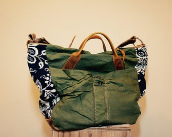 NEW STYLE////Vintage Military Canvas, Indigo Coverlet, and Horween Leather