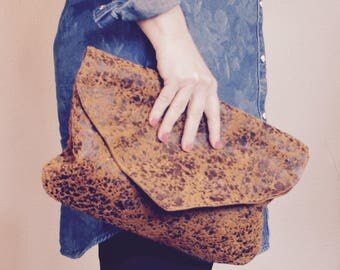 NEW// Oxford Single with Flap in Acid Washed Chestnut Brown Leather//Clutch// Pouch