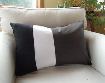 Ready-Made Tri-Colour Pillow, Hemp, Linen, Cotton, 16x24