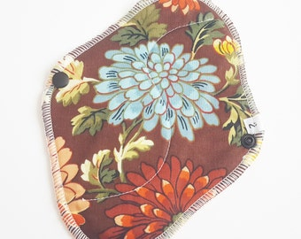 Cloth Mama Pad / Reusable Cloth Pad - Regular Flow  - Brown Flowers Printed 8 Inch FREE Shipping