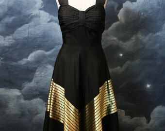 Vintage 1940s Black Evening Gown with Gold Chevron Detail - Size XSmall
