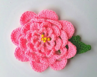 Crocheted Pink Flower pin