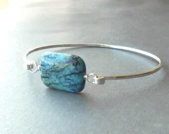 Silver Bangle Bracelet, Sterling Silver Gemstone Bracelet, Wire Jewelry
