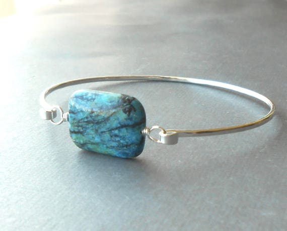 Silver Bangle Bracelet, Sterling Silver Gemstone Bracelet, Wire Jewelry