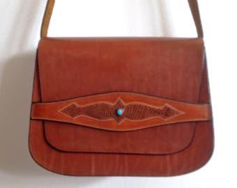 Southwestern Leather Purse Handmade Brown Leather Purse Leather Shoulder Bag