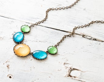 Blue, Green and Gold Necklace, Statement Necklace , Minimalist Necklace, Colorful Necklace, Glass Dome Necklace, Bib Necklace
