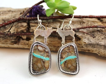 Spirit Wolf & Royston Ribbon Turquoise Cabochon Sterling Silver Earrings, rustic, artisan, metalwork, handmade, boho, Gypsy, Cowgirl