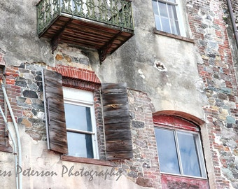 Old  Window Photos, Historic Savannah Riverfront Building Art, Abstract Urban Decay Print, Rustic Southern Home Decor, Gray Red Decor