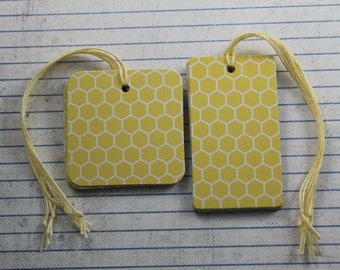 Yellow Honeycomb gift tags hexagon patterned paper over chipboard...25 Tags [square or rectangle]