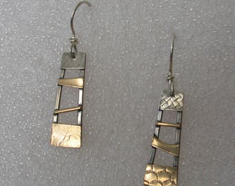 Mixed  Metals Ladder Small  Earrings