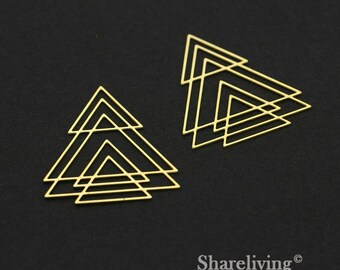 Exclusive - 4pcs Raw Brass Geometric Large Triangle Charm / Pendant,  Fit For Necklace, Earring, Brooch  - TG344
