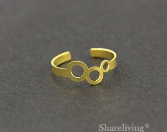 2pcs Raw Brass Circles Ring, Adjustable 3 Circles Brass Rings - TR020