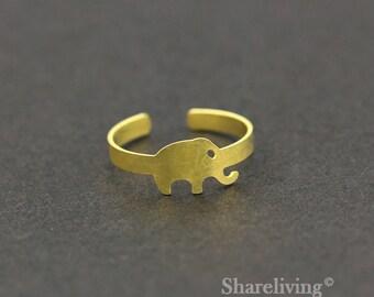 2pcs Raw Brass Elephant Ring, Adjustable Animal Brass Rings - TR021