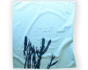 Cactus Dish Towel /Light Blue and Teal Desert Dish Towel / Southwest Style / Modern Desert Kitchen Decor