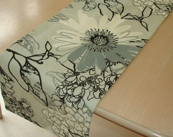 """4ft Table Runner 48"""" Grey White and Black Flowers Birds Silver Gray 120cm Tableware Linens Coffee Console"""