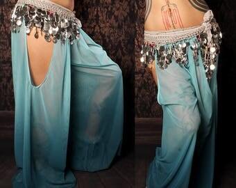 Mermaid Harem Pants, blue ombre, cut out leg, tribal fusion belly dance, Gypsy costume, Art Nouveau Costume, summer festival baggy pants