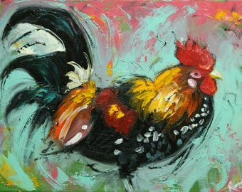Rooster 857 12x16 inch animal portrait original oil painting by Roz