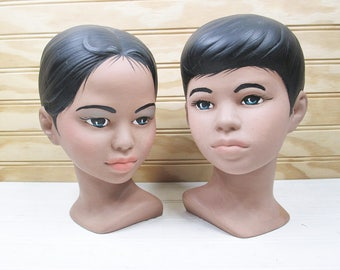 Vintage Holland Mold Bust Set Ceramic Boy & Girl Mid Century Modern Retro Pair