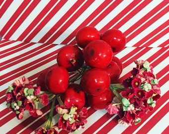 Vintage Millinery Flower Trim   Nosegay Bundles in Red with Group of Bright Red Cherries