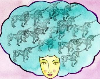 Unicorn Society-Unicorn Print, Unicorn, Afro, Unicorn Afro, Unicorn Art Print