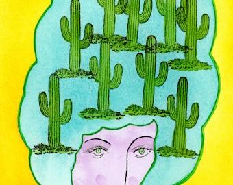 Desert Dreams Archival Print-Cactus, Saguaro, Afro, Desert Inspired