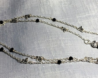 Handmade Sweet Dragonfly and Jet Black Silver Chain Reading Glasses Sunglasses Eyeglass Chain Holder #215