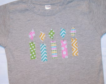 Girls 5th Birthday Candle Shirt - Size 6 short sleeve heather gray with candles in pink aqua green yellow chevron and dots