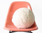 Vintage Mod White Ball Pillow