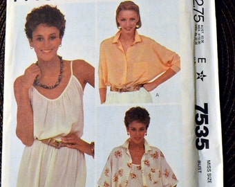 Vintage Sewing Pattern McCall's 7535 80's Misses' Blouses and Camisole Size 12 Bust 34 Carol Little Designer Complete Uncut FF
