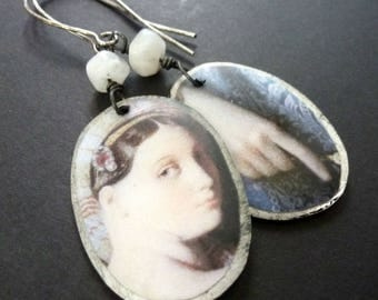Delicate ~  resin art earrings with moonstone beads ~ portrait of a lady ~ OOAK ~ shabby rustic ~ sterling hooks
